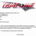 Testimonial from Trim-Line Signs Graphics Tint